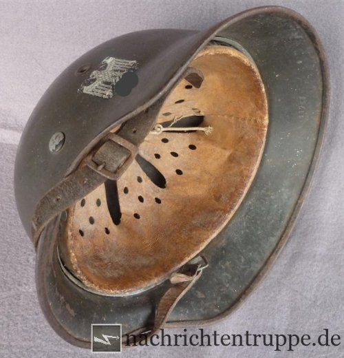 German steel hemet with inner liner and chin strap