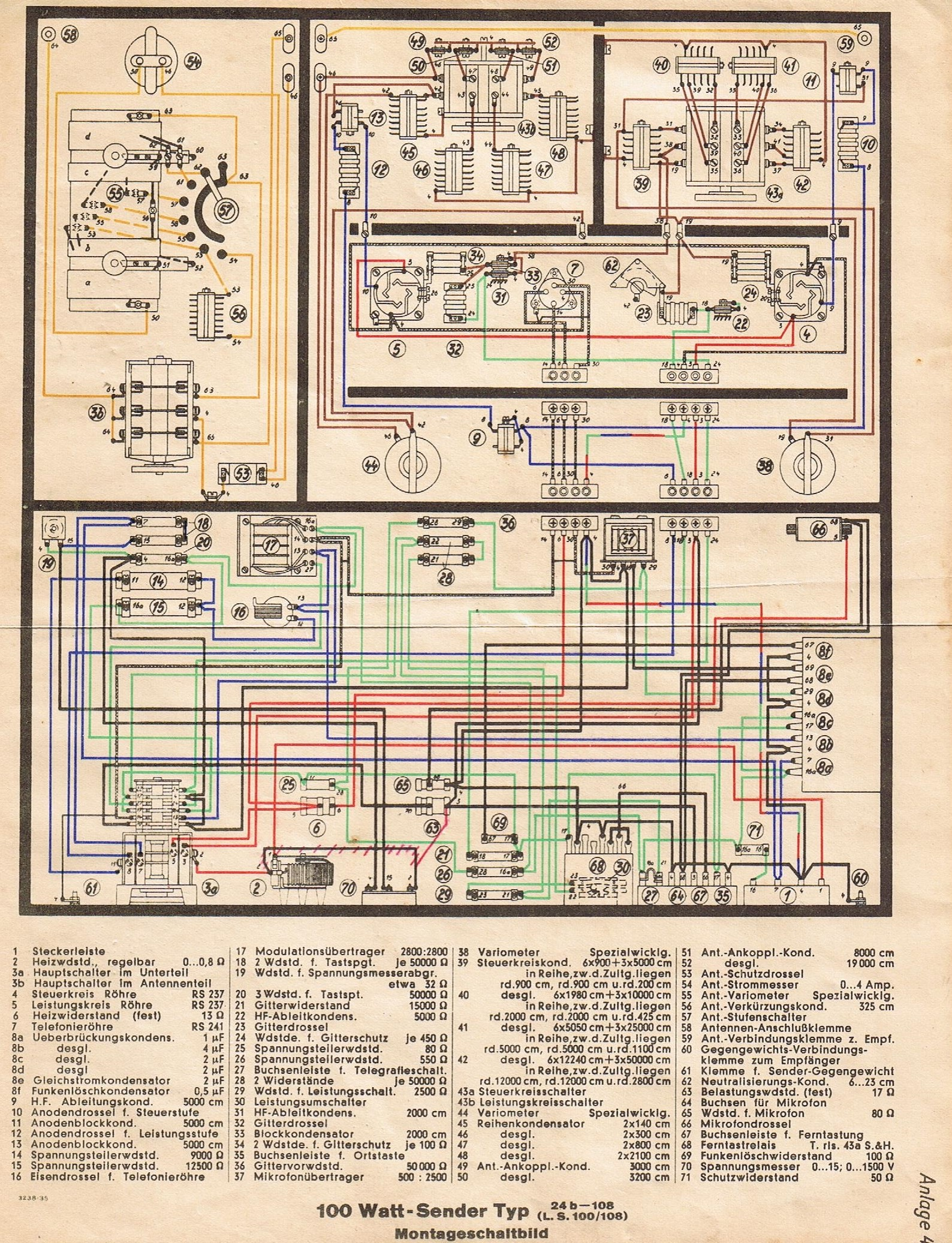 100 Watt Sender (LS 100/108) - Montageschaltbild - Die Nachrichtentruppe